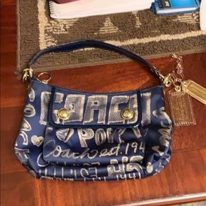 Blue gold hobo bag